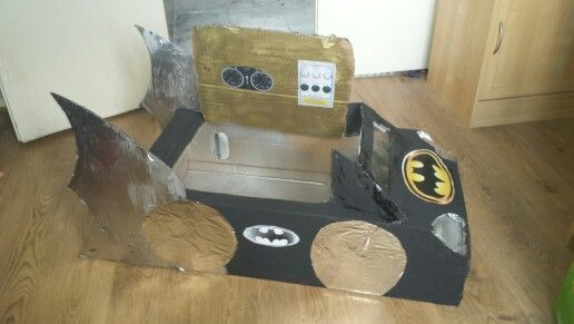 Batman car made from cardboard box and spray paint.