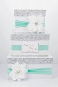 Card Box / Wedding Box / Wedding Money Box - 3 Tier - Personalized - Mint