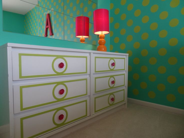 The dresser detail was DIY'd thanks to @My O'verlays. So fun and colorful for a #biggirlroom: Artists Coaches Lobbies, Girls Bedrooms, Girls Room, Projects Nurseries, Dressers, Big Girl Rooms, Big Girls, Biggirlroom Kidsroom, Diy