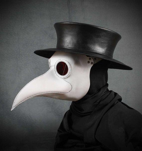 Masque du médecin de la peste Maximus en cuir blanc