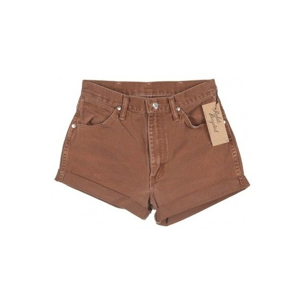Wrangler Light Brown Denim Turn Up Shorts ❤ liked on Polyvore featuring shorts, bottoms, pants, wrangler shorts y denim shorts
