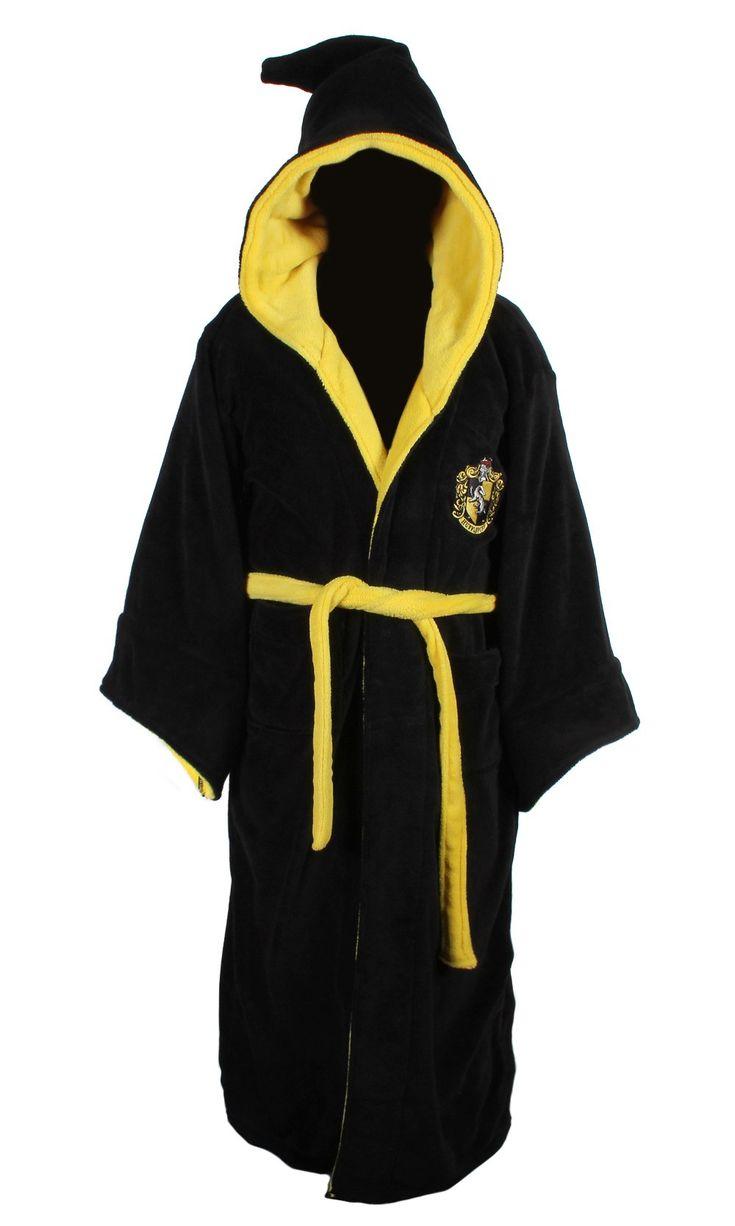 Harry Potter Hufflepuff Adult Fleece Hooded Bathrobe (One Size)
