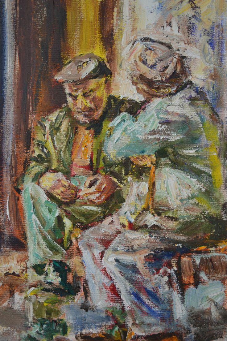 """""""Oompie by die deur""""   - Marlien van Heerden oil on canvas"""