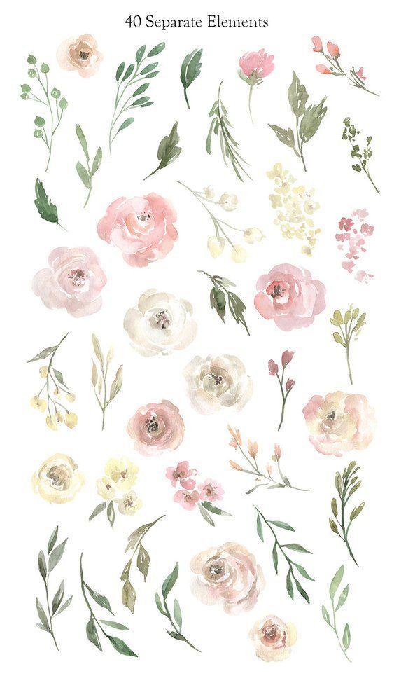 Aquarell Blumen Clipart sanfte florale ClipArt PNG freie kommerzielle Nutzung rosa gelb weiße Rosen Bo
