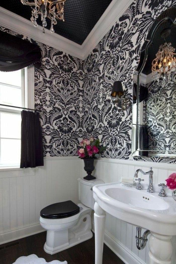 le thme du jour est la salle de bain rtro - Salle De Bain Plafond Noir