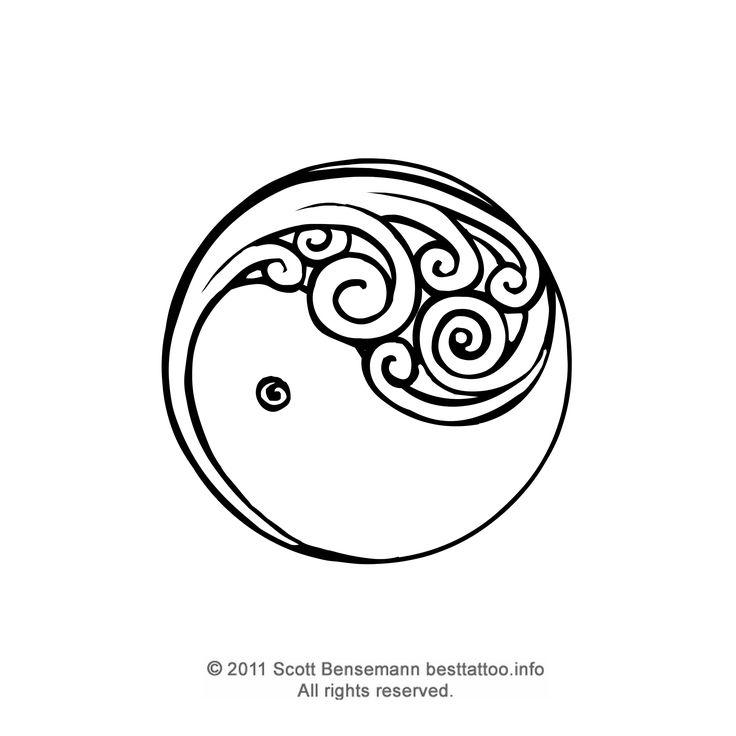 New Zealand Maori silver fern koru yin yang tattoo flash black and white design