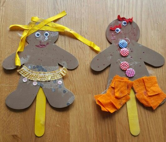 Gingerbread men self portrait puppets