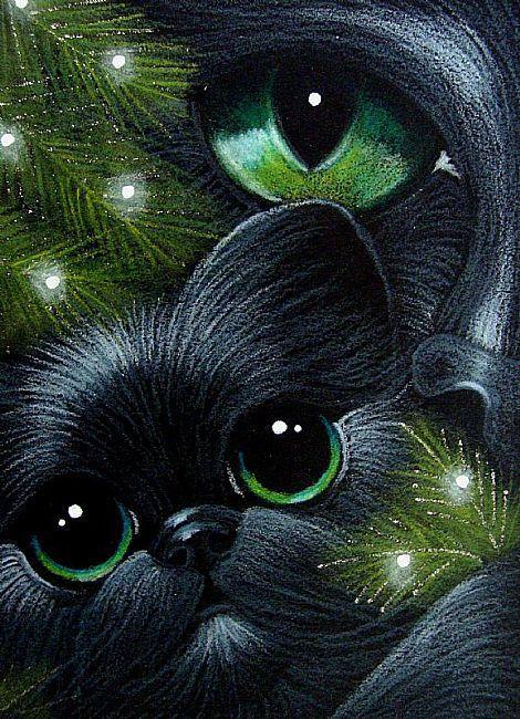 BLACK CAT & KITTEN 1ST CHRISTMAS TREE+