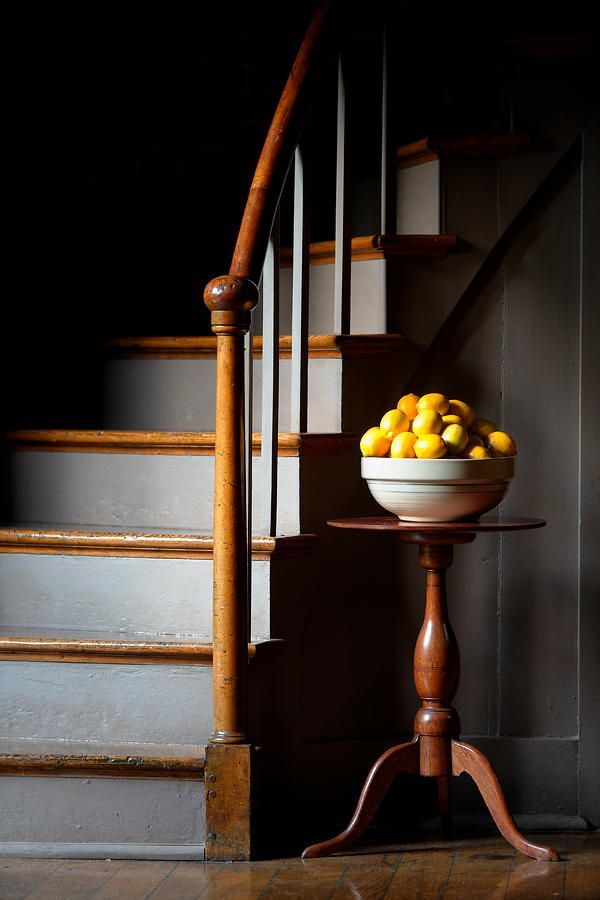 THE STAIRCASE & PEDESTAL TABLE.