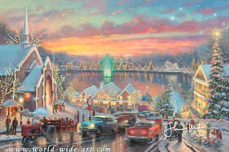 The Lights of Christmastown - Thomas Kinkade - World-Wide-Art.com $795.00 #Kinkade #Christmas #Holidays