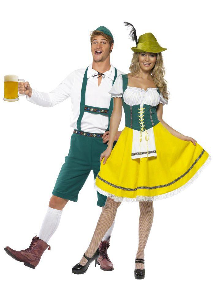 Disfraces de pareja de bávaros: Disfraz de bávaro. Este disfraz de bávaro para hombre se compone de un top amplio de manga larga con una pequeña cinta de sujeción en el cuello y un mono verde de...
