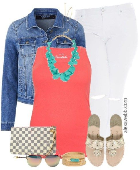 Plus Size Summer Coral Outfit - Plus Size Summer Outfit - Plus Size White Jeans - Plus Size Fashion for Women - alexawebb.com #alexawebb