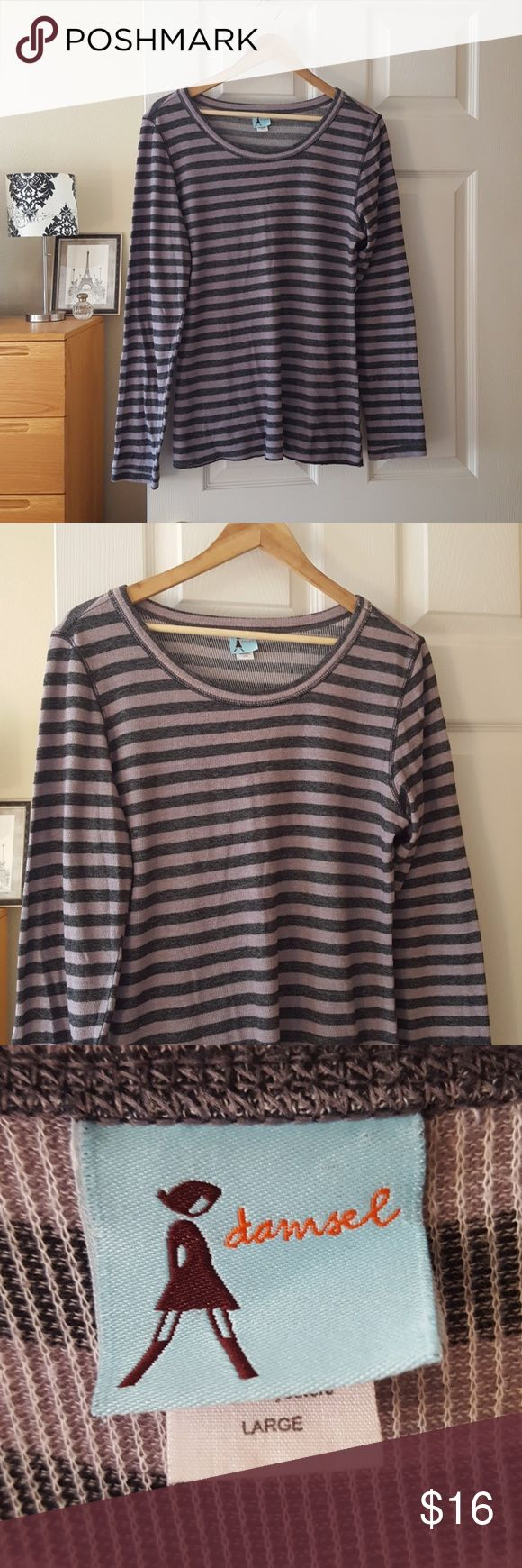 """urban outfitters long sleeve thermal striped top Measurements lying flat:  Bust: 21"""" Length:27"""" 60% cotton, 40% polyester Smoke-free home Damsel from UO  -I do not currently offer a bundle discount closet-wide, but I will work with you on pricing. 💕  -Prices firm on items under $10.  -No trades, please.  Thank you for shopping my closet, it means a lot to me! Urban Outfitters Tops"""