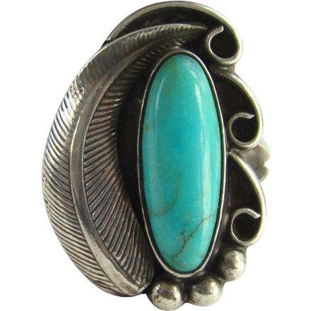 #VintageBeginsHere at www.rubylane.com @rubylanecom --Vintage Navajo Indian Turquoise Ring Size 8 Sterling Silver Native American