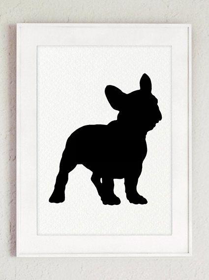 Franse bulldog silhouet Set van 4 hond illustratie huisdier