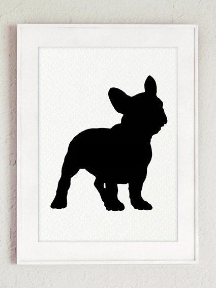 French bulldog silhouette Set of 4 Dog van ColorWatercolor op Etsy