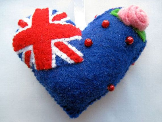 Felt NZ Flag Love Heart Valentine Wedding Olympics hanging ornament decoration NEW ZEALAND Kiwi National Flag