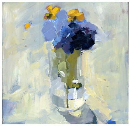 "Daily Paintworks - ""#781 hydrangea and yellow things"" - Original Fine Art for Sale - © Lisa Daria"
