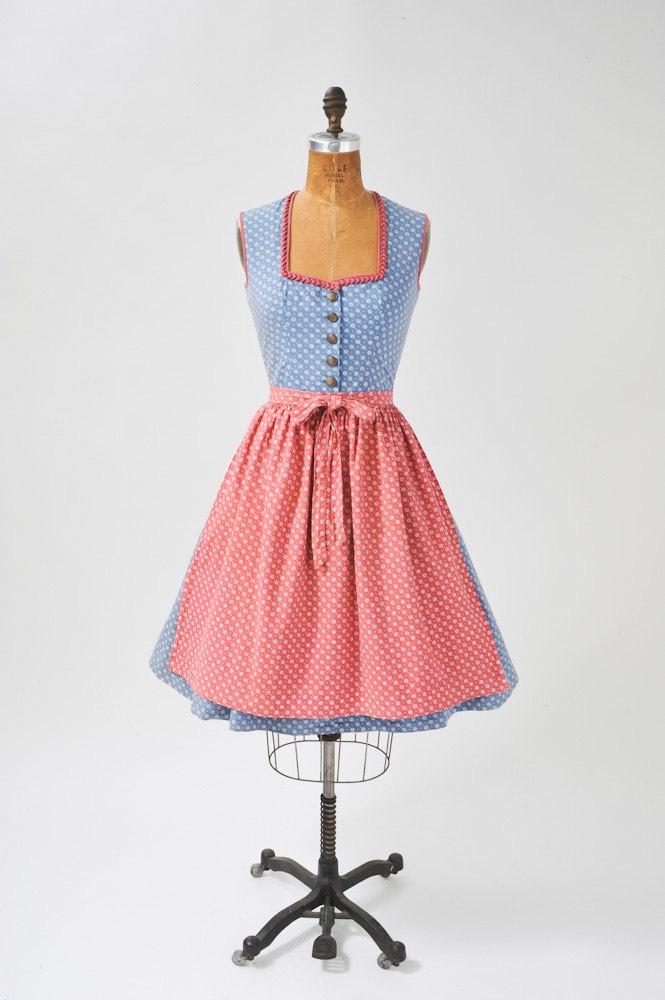Pink & Blue Vintage Dirndl - 1960's Heidi with Apron.  This is the same print as Nikki's vintage dirndl!