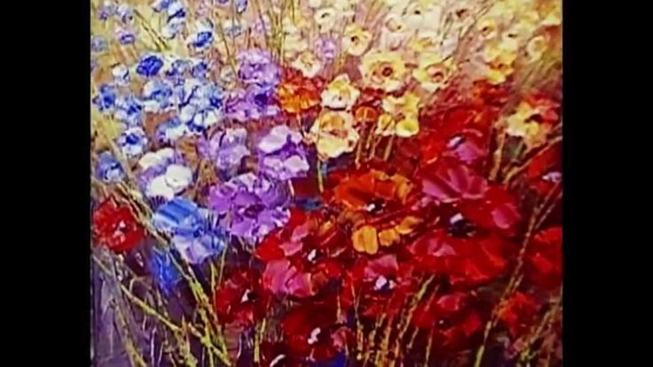Paint flowers with palette knife techniques demonstration video by Tatia...