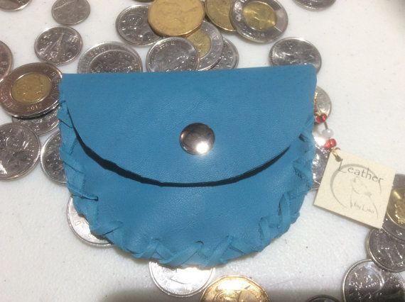 Coin Purse Pocket Pouch with Snap Change Purse Blue Leather