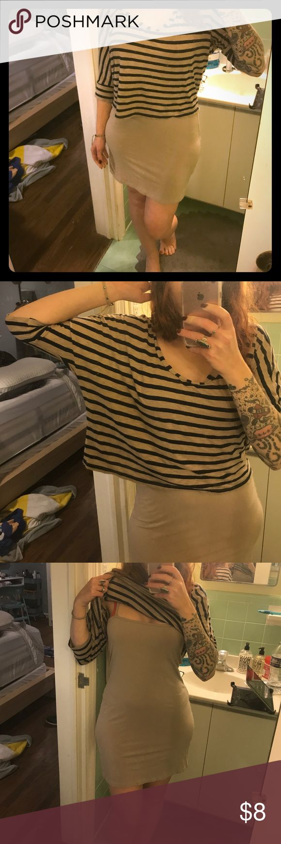 Two piece Splendid slip dress with stripped shirt Beige slip dress with slouchy shirt to put over top. Wear together or as seperates. Cute with brown booties and denim jacket. Splendid Dresses Mini