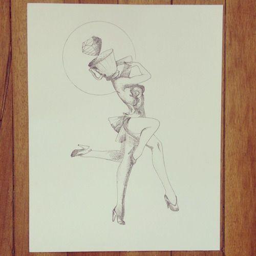 """De la serie """" """" Original Vs Copia : """" Whats on my head """" """" Ilustración original recordando al talentoso y uno de mis favoritos Alberto Vargas. #drawing #pinup #ink #art #illustration #teacup"""