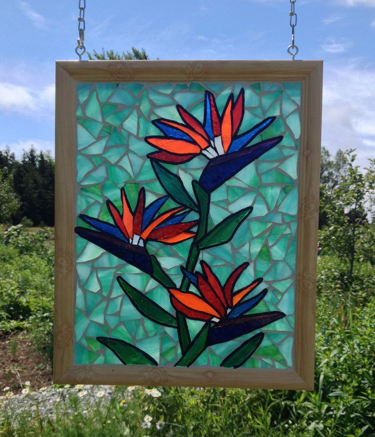 Bird of Paradise Stained Glass Panel - Tropical Stained Glass Bird of Paradise Mosaic Panel - Tropical Flower Stained Glass Crane Flower by NiagaraGlassMosaics on Etsy