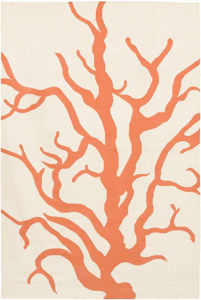 Thomaspaul Rug Coral Orange in Multiple Sizes, available at #polkadotpeacock. #peacocklove #thomaspaulrugs