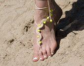 Neon Sarı Boncuk, Boncuklu Destination Wedding Çıplak Ayak Sandalet, Hippi Yoga Nude Ayakkabı, Çingene Toe Thongs ile Tan Beach Barefoot Sandles