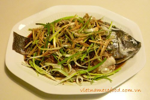 Steamed Tilapia with Spring Onion and Ginger (Cá Rô Phi Hấp Hành Gừng) from http://www.vietnamesefood.com.vn/vietnamese-recipes/vietnamese-fish-recipes/steamed-tilapia-with-spring-onion-and-ginger-ca-ro-phi-hap-hanh-gung.html