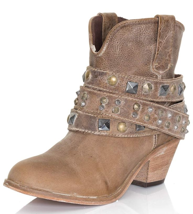 Corral Womens Studded Strap Ankle Cowboy Boots - Taupe $127.00