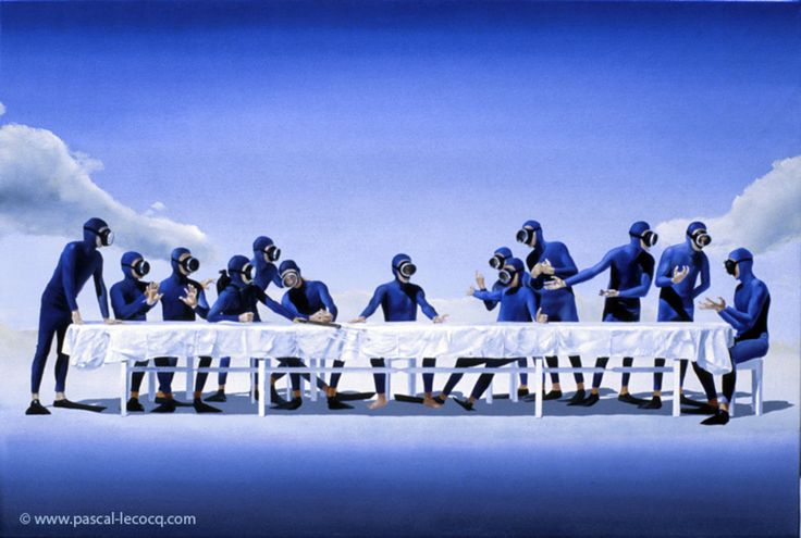 CENA MARITIMA - The maritime last Supper- oil on canvas by Pascal Lecocq The Painter of Blue  25x 32 64x81cm lec378 1994 priv.coll. Châtillon France. Print available pascal lecocq Published Red Sea Magazine (Israel 1995) Plongee Mag (France 1996) Oceans (France 1996) Duiken (Netherlands 1997) Femina (Switzerland 1998) Lisboa expo98 (Portugal 1998) sport Diving Journal (Hong Kong 1998) Dykking (Norway 1999) Pascal Diving Book (1999 Israel) Diving Club (Russia 2000) Equipe Magazine (France…