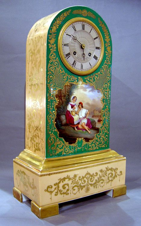 Antique French Charles X period porcelain Borne clock. - Gavin Douglas Antiques Lovely details!