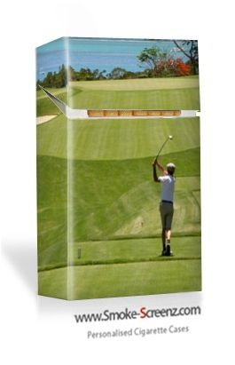 The noble game of golf re-created on a Smoke Screenz cigarette pack cover