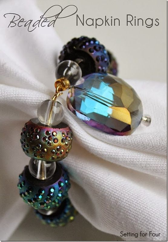 how to make Beaded Napkin Rings use memory wire, beads, wire head pins, needle nose pliers
