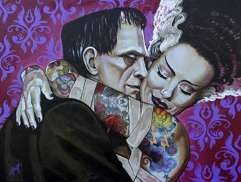 Undying Love by Mike Bell Frankenstein Monster Tattoo Canvas Art Print