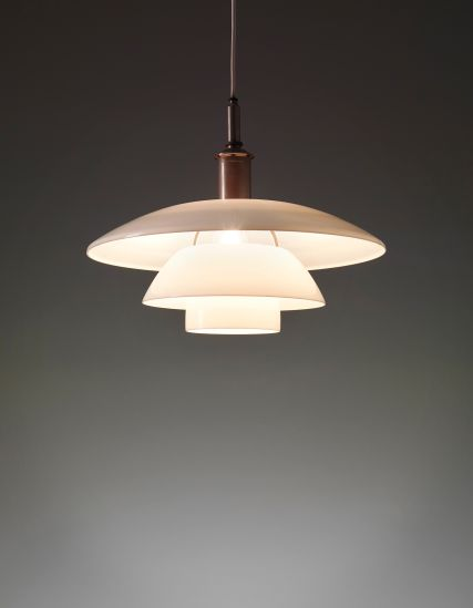 Poul Henningsen; Opaque Glass and Nickel-Plated Brass Ceiling Light for Louis Poulsen