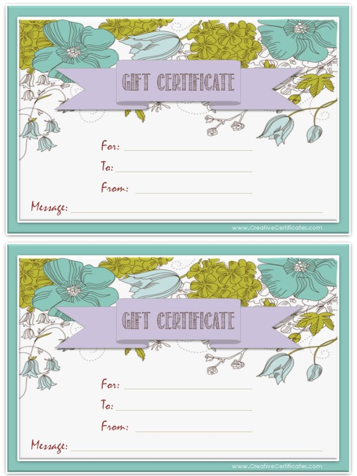 17 Best Ideas About Printable Gift Certificates On Pinterest