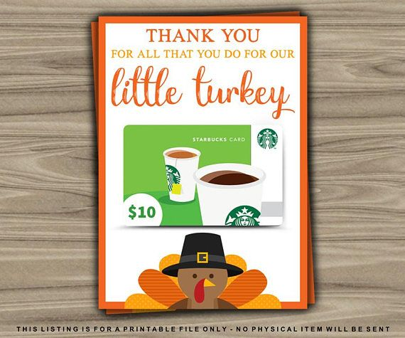 Thanksgiving Gift Card Holder / Thanksgiving Teacher Gift Idea / Last Minute Gift / Thankful / Our Little Turkey / Printable by TheDigiSloth