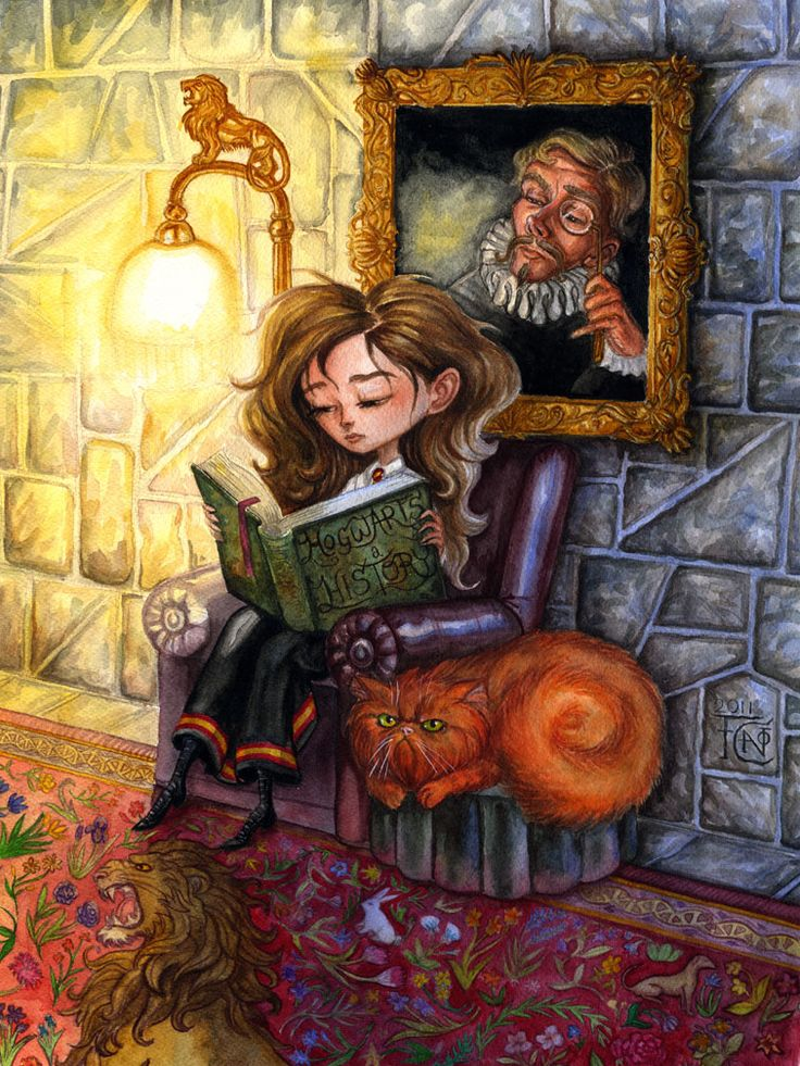 Hermione Reading (Harry Potter) by feliciacano.deviantart.com on @deviantART