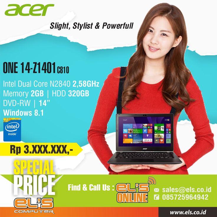 Tersedia ACER ONE 14-Z1401-C810 Win 8.1 – Black hanya di Els Computer