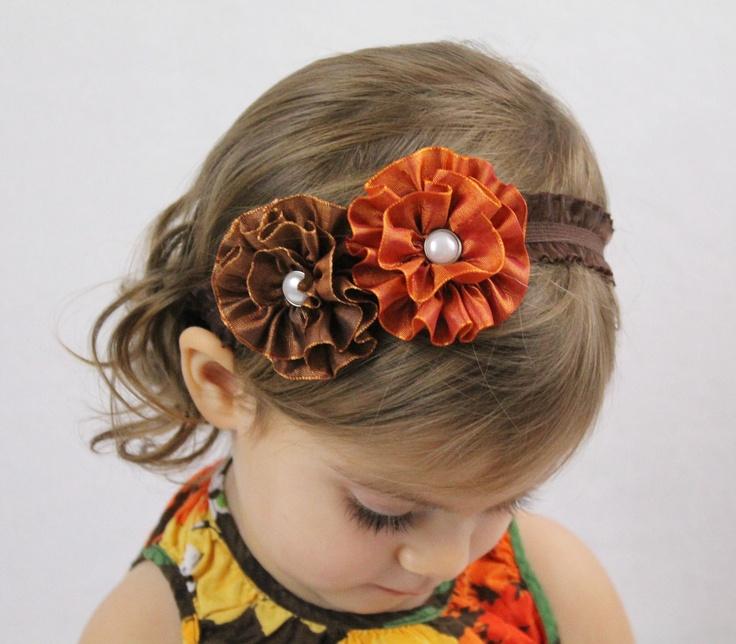 ADORABLE! Orange Brown Flower Headband - Earth Tone Flowers Hair Bow Headband - Toddler Girl Adult