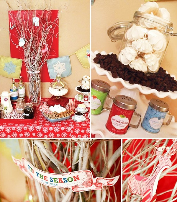 Hot Chocolate Coffee Bar. Good idea for almost any type of Winter party!! (: