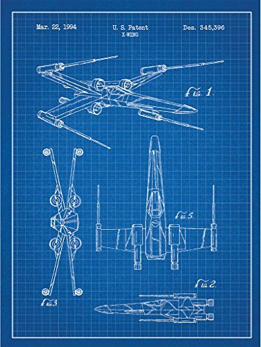 """Sci-Fi and Fantasy """"Star Wars Vehicles: X-Wing"""" Design Art Poster - 18 x 24 inch Silk Screen Print - Blue Grid - White Ink Inked and Screened http://www.amazon.com/dp/B0133TOVSQ/ref=cm_sw_r_pi_dp_SJm-vb1W1M1DG"""