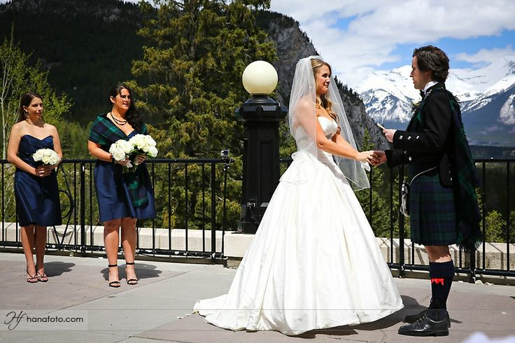 The Outdoor Terrace at the #FairmontBanffSprings has a spectacular backdrop of the Canadian Rockies. #BanffBride #BanffWedding #BanffWeddingPlanner Photo courtesy of #Hanafoto