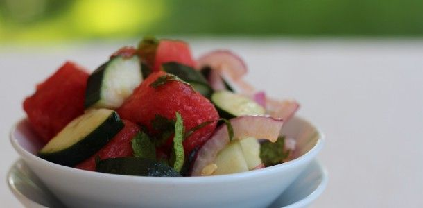 """PaleOMG – Paleo Recipes – Watermelon and Cucumber Mint Salad 