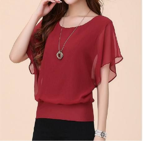 Plus Size 5XL New Womens Chiffon Tops Fashion  Women Summer Chiffon Blouse Ruffle Batwing Short Sleeve Casual Shirt T51701
