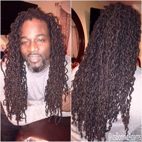 Braidout on locs @Bonnie S. Adams on IG (It's her dad!)  To learn how to grow your hair longer click here - http://blackhair.cc/1jSY2ux