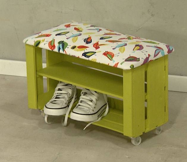 Caj n de frutas a banco zapatero ideas pinterest for Mueble zapatero plastico
